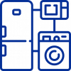 blue icon shows that has variety of house appliances